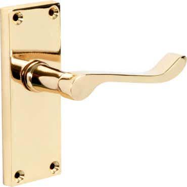 Victorian Polished Brass Lever Latch Door Handle- 1 Pair