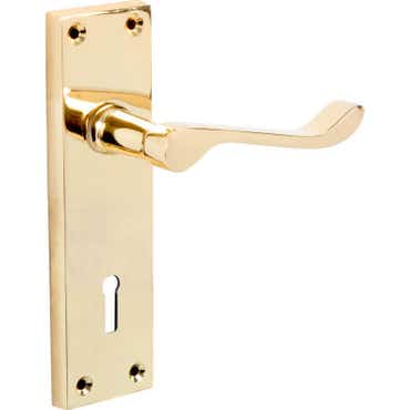 Victorian Scroll Long Lock Door Handle Polished Brass
