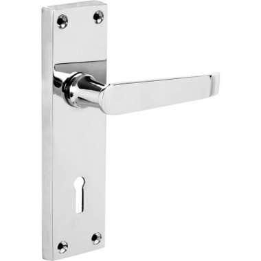 Victorian Straight Long Lock Door Handle Polished Chrome