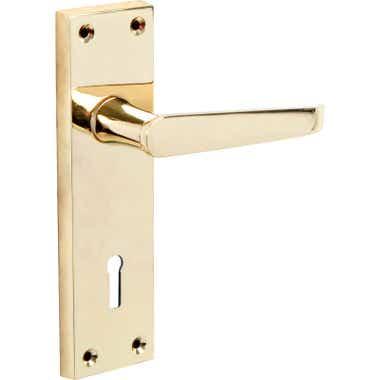 Victorian Straight Lock Long Door Handle - Brass
