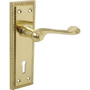 Georgian Scroll Lever Lock Long Backplate Door Handle - Polished Solid Brass