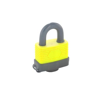 Weather Resistant Padlock 40 mm, yellow and grey