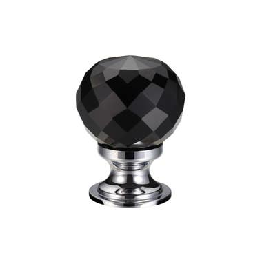 Black Faceted Glass Cabinet Knob Nickel - 30mm