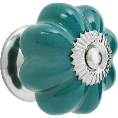 Ceramic Fluted Flower Melon Cabinet Knob - Sea Green 30mm
