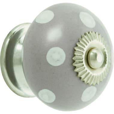 White Dots Grey Ceramic Cabinet Knob 40mm