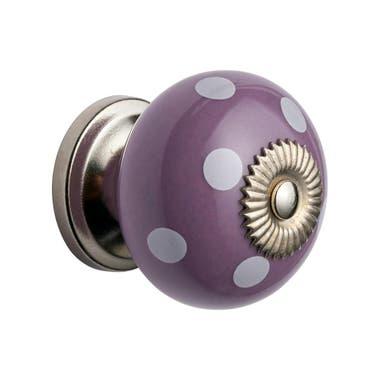 White Dots Purple Ceramic Cabinet Knob 40mm