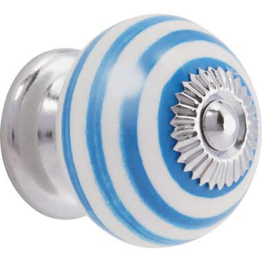 Swirl Ceramic Cabinet Knob - Sky Blue and White 40mm