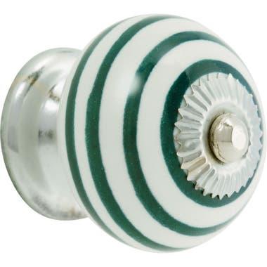 Ceramic Swirl Cabinet Knob 40mm Green