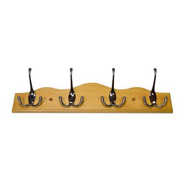 4 Chrome Hooks on Nature Pine Wavy Board