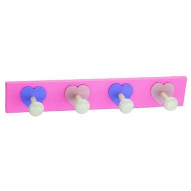4 Robe Heart Hooks Kids Rail - Baby Pink