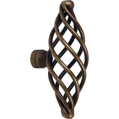 Cage Cabinet Knob 76mm Antique Brass