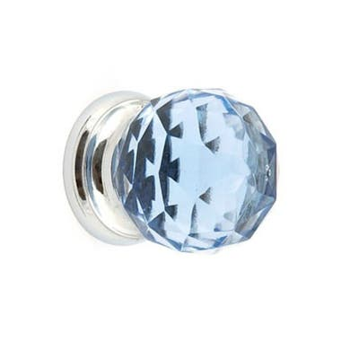 Blue Glass Faceted Cabinet Knob 38mm Chrome