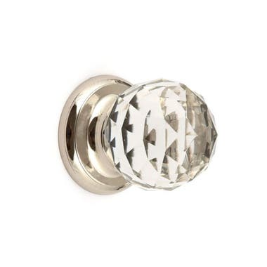 Clear Glass Faceted Cabinet Knob 38mm