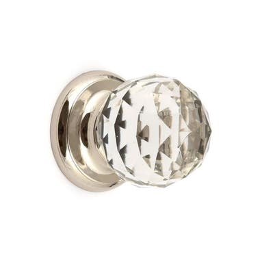 Clear Glass Faceted Cabinet Knob 50mm Chrome