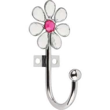 Decorative Acrylic Flower Robe Hook Clear Decor Gems