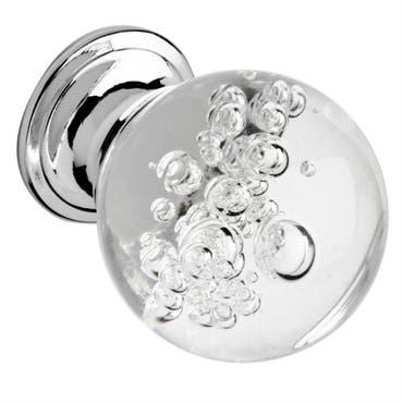 Bubble Glass Cabinet Knob 30mm Chrome