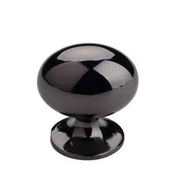Large Oval Cabinet Knob 35mm Black Nickel