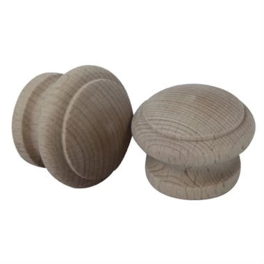Ringed Beech Cabinet Knob 41mm Wooden