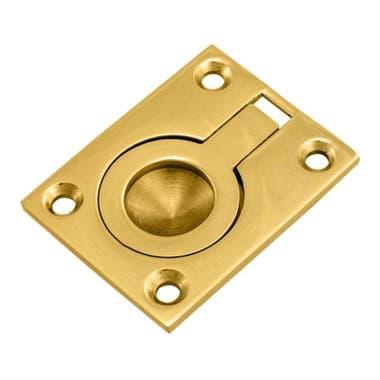 Flush Ring Pull Cabinet Handle 42 mm Brass