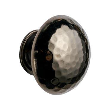Round Hammered Black Nickel Cabinet Pull Mushroom Knob 38mm