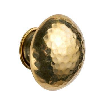 Round Hammered Polished Brass Cabinet Pull Mushroom Knob 38mm