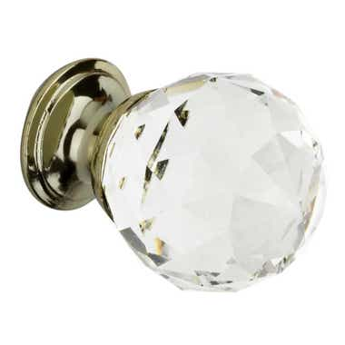 Faceted Glass Cabinet Knob - Brass Base