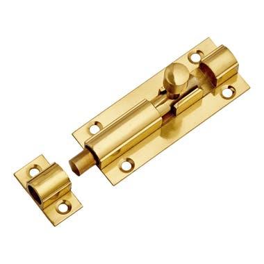 682SP Polished Solid Brass Barrel Door Bolt Straight 64mm