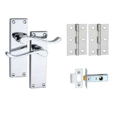 Long Plate Victorian Scroll Lever Latch Door Handle Pack - Polished Chrome