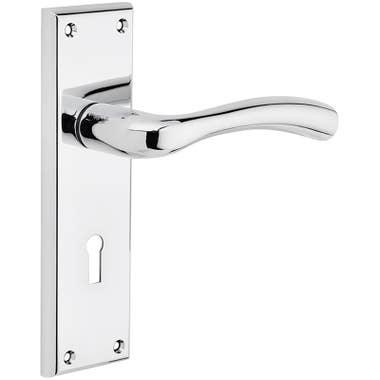 Minerva Lever Lock Door Handle - Polished Chrome