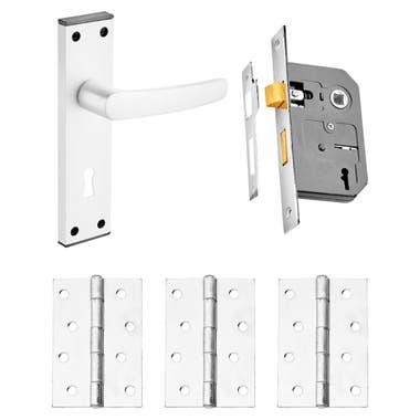 Oxford Lever Door Handle Pack with 3 Lever Lock Satin Aluminium