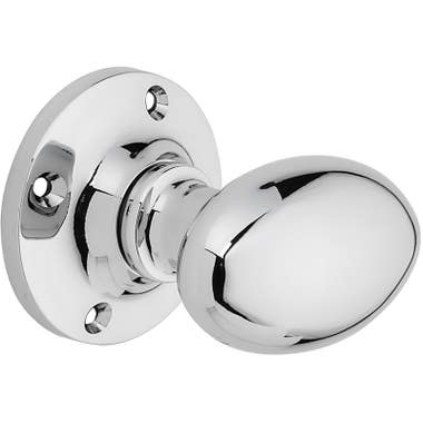 Oval Mortice Door Knob - Chrome Plated