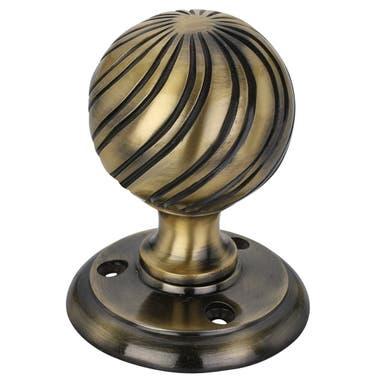 Swirl Ball Mortice Door Knob Antique Brass - 63mm