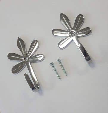 Flower Curtain Tassel Tieback Hook Polished Chrome with Screws