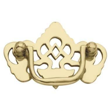Ornate Eagle Drawer Pull 76mm Polished Brass