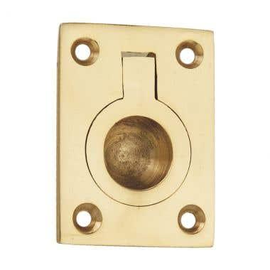 Flush Ring Pull Large Polished Brass