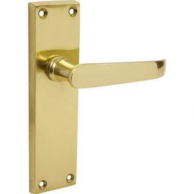 Victorian Straight Long Latch Door Handle - Brass Effect