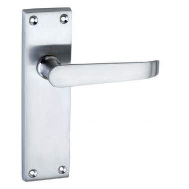 Victorian Straight Latch Long Door Handle - Satin Chrome