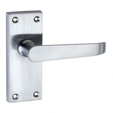 Victorian Straight Short Latch Door Handle Satin