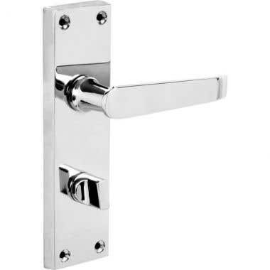 Victorian Straight Sleek Lever Bathroom WC Long Backplate Door Handle - Polished Chrome