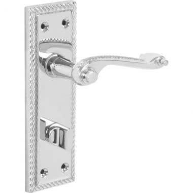 Georgian Scroll Lever Bathroom WC Long Backplate Door Handle - Polished Chrome
