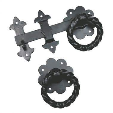 Twisted Heavy Ring Gate Latch Antique Black