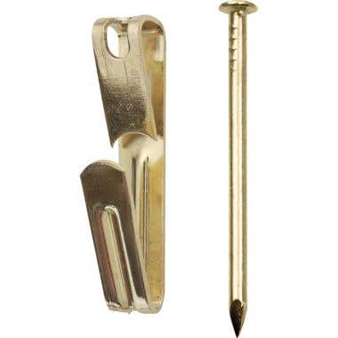 Picture Hooks Single Brass Plated with Pins