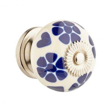 White and Blue Flower Chrome Cabinet Door Knob 40mm
