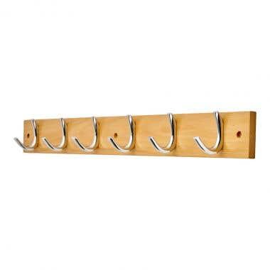 6 Polished Chrome Half Ribbed Hooks on Beech Wood