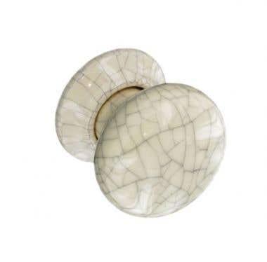 Ceramic Door Knob Cracked Cream