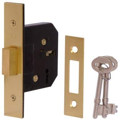 3 Lever Mortice Deadlock 64mm - Brass Plated