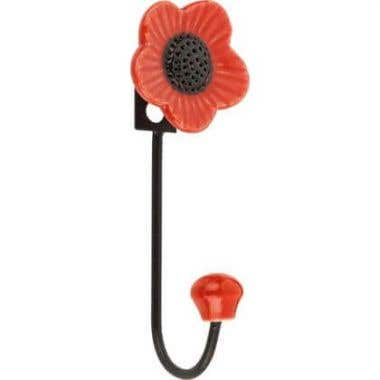 Ceramic Poppy Single Robe Hook - Red