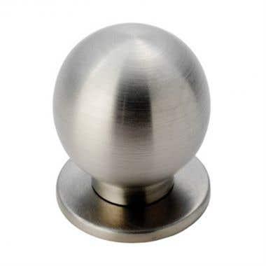 Round Ball Cabinet Knob Flat Base 25mm Brushed Nickel
