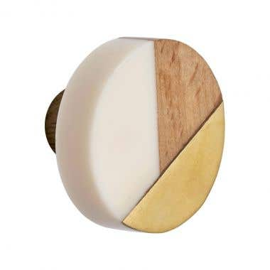 Round Three Tone Wood, Resin White and Gold Cabinet Pull Knob 40mm