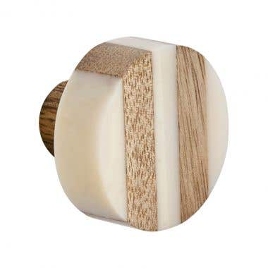 Round Wood Striped and White Resin Cabinet Pull Knob 35mm